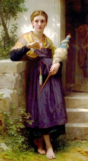 Girl with spindle and distaff